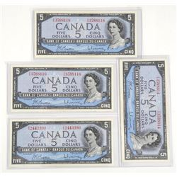 Lot (4) Bank of Canada 1954 Five Dollar Notes. Mod
