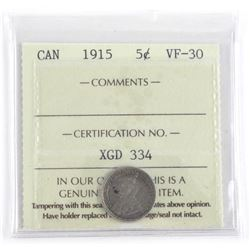 Canada 1915 Silver 5 Cent VF-30 ICCS