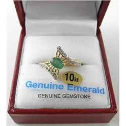 (BB48) 10kt Gold, Emerald and White Sapphire Ring.