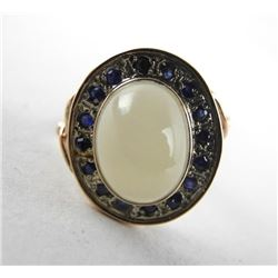 Ladies 9kt Gold Oval Cabochon Moonstone and Blue S