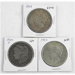 Lot (3) U.S. Silver Dollars: 1900, 1923, 1924