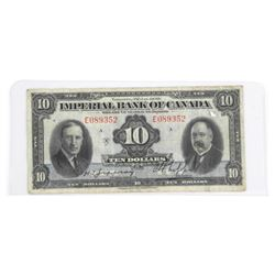Imperial Bank of Canada 1939 Ten Dollar Note