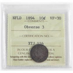 NFLD 1894 10 Cent VF-30. Obverse 3 ICCS