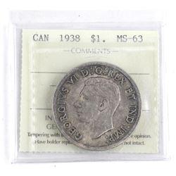 1938 Canada Silver Dollar ICCS. MS63. (OXR)