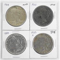 Lot (4) U.S. Silver Dollars.