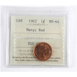 1962 Canada One Cent ICCS. MS-64. Harp: Red