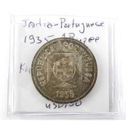 India - Portuguese 1935 1 Rupee MS64. USD $150.00