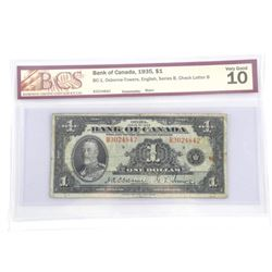 Bank of Canada 1935 One Dollar Note. Osborne-Tower