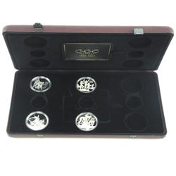 Olympic Silver Coins 4 Coins in Display Case.