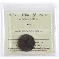 Nova Scotia 1864 1/2 Cent MS-60 Brown - ICCS