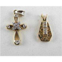 Lot - 14kt Gold Estate Diamond Pendants (4GR)