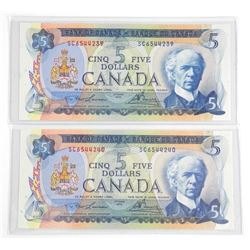 Lot (2) 1972 Bank of Canada Five Dollar Notes. UNC