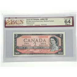 Bank of Canada 1954 Two Dollar Note. Modified Port