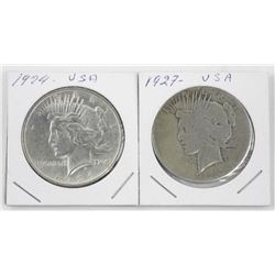 Lot (2) USA Silver Peace Dollars: 1924 and 1927.
