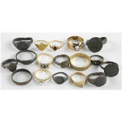 Estate Lot of Mixed 10-14kt Gold and Metal Rings S