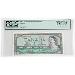 Bank of Canada 1954 One Dollar * Replacement note