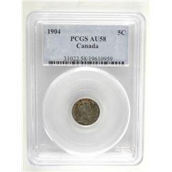 1904 Canada 5 Cents PCGS. AU58