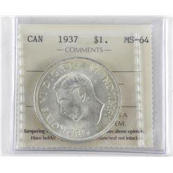 1937 Canada Silver Dollar. MS64. ICCS