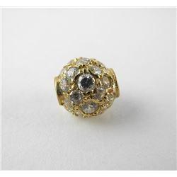 10kt Gold Ball Pendant, 42 Swarovski Elements Bead