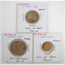 Set (3) 1867 Romanic H Eaton 1-2-5- BANI Ebay List
