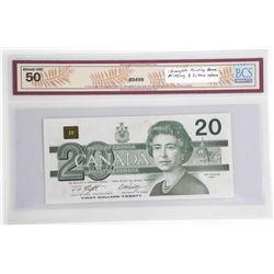 Bank of Canada 1991 Twenty Dollar AU50. Incomplete
