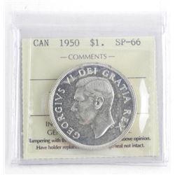 1950 Canada Silver Dollar ICCS. SP66. Highest Grad