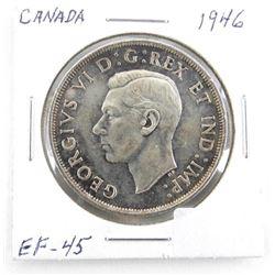 1946 Canada Silver Dollar. ICCS. EF-45