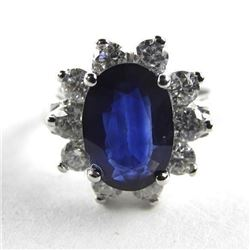 (CES 003) 18kt Gold Custom Ring Oval Cut Blue Sapp
