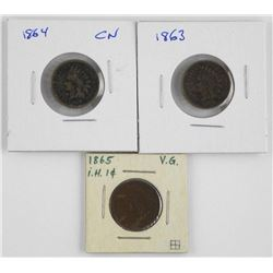 Lot (3) Indian U.S. One Cent: 1864, 1864, 1865