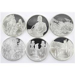 Lot (6) 925 Sterling Silver Medals. 187gr.