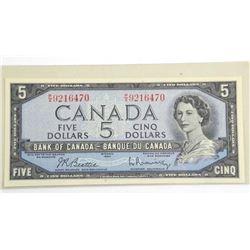 Bank of Canada 1954 Five Dollar Note. Modified Por
