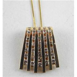 Estate 14kt Gold 35 Diamond Pendant - Channel Set