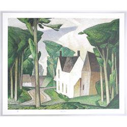 "A.J. Casson (1898-1992) 24x20"" Litho 'Village Hou"
