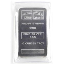 .999 Fine Pure Silver Bar 10 ounces Troy