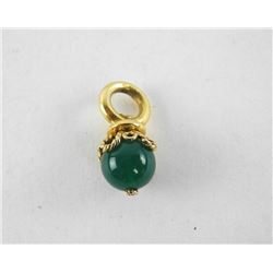 Estate 14kt Gold Ball Pendant with Round Agate 5.2