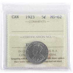 Canada 1923 Silver 5 Cent MS62. ICCS