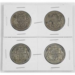 Lot (4) Canada Silver 50 Cent 1942 and 1943 NEAR/F