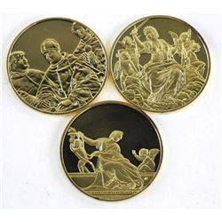 Lot (3) Artistic Medals 24kt Gold Plated over 925