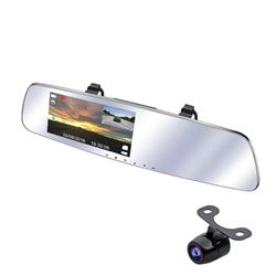 SmarTure 1296P Rear View Mirror Dash Cam with Back