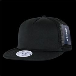 DECKY Solid Color Flat Bill Foam Trucker Hat- Blac