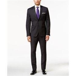 Perry Ellis Men's Two Button Slim Fit Suit- Black