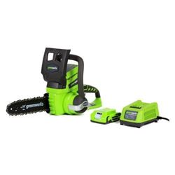 Greenworks 10-Inch 24V Cordless Chainsaw- 2.0 AH B
