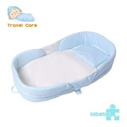 Labebe 2-in-1 Toddler Bed Crib- Blue Baby Bed up t