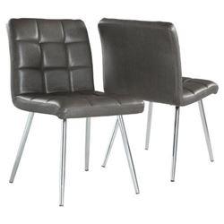 Monarch Specialties I 1072 Grey Leather-Look/Chrom