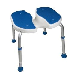 Pcp Padded Bath Safety Seat with Hygienic Cutout- White/Blue