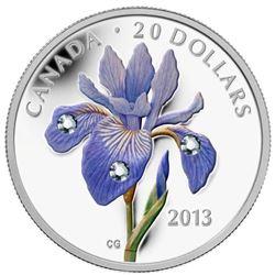 2013 $20 Fine Silver Blue Flag Iris Coin.
