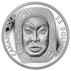 2014 - $25 Silver Moon Mask .9999 Fine Silver.