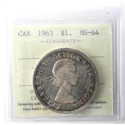 1963 Canada Silver Dollar. MS64. ICCS.