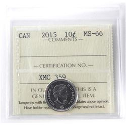 2015 - 10 cents, MS-66 [ICCS Certified]