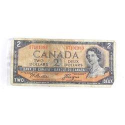 Bank of Canada 1954 Two Dollar Note. Devil's Face.